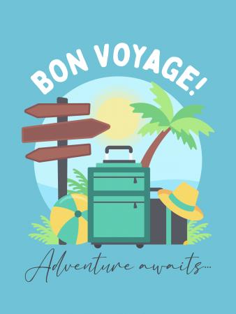Bon Voyage Card - Leaving Card - Cake Card