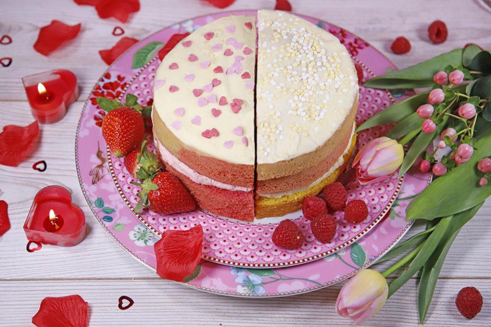 Valentines Half And Half Cake