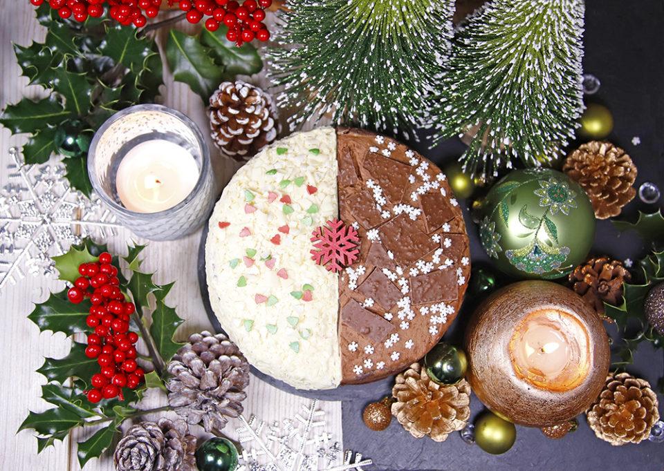Festive Half and Half Sponge Cake