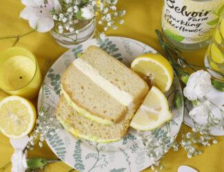 Gluten Free Lemon and Elderflower cake slice - thumbnail