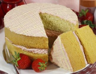 Gluten Free Strawberries and Cream Cake - Thumbnail