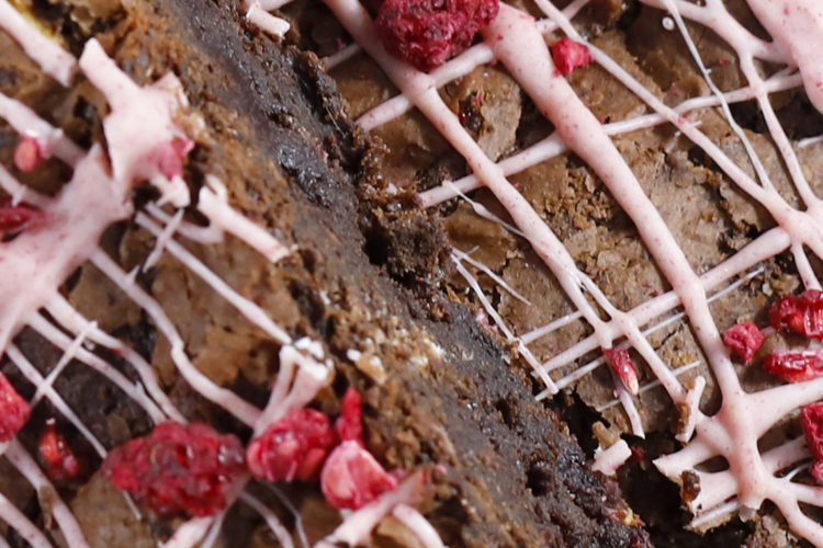 Close up White Chocolate & Raspberry Brownies