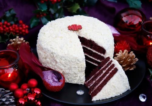 White Chocolate & Red Velvet Snowball Cake