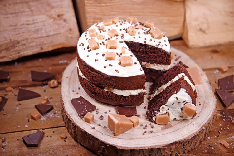 Vegan Caramel Choc Cake